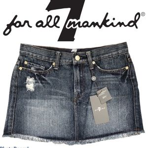 7 FOR ALL MANKIND crystal pocket jean skirt 26 NWT